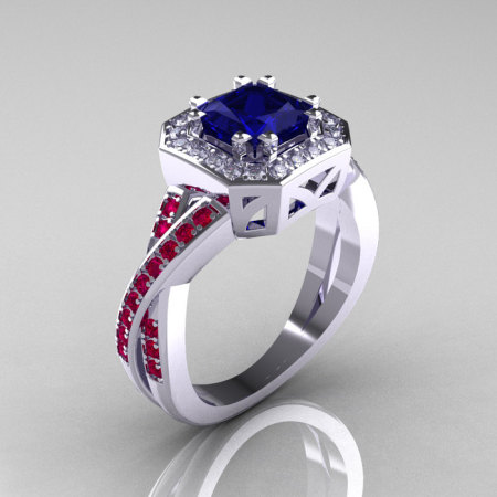 American Classic 14K White Gold 1.23 CT Princess Blue Sapphire Ruby Diamond Engagement Ring R189P-14KWGDRBS-1