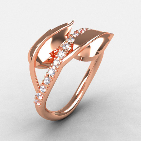 Natures Nouveau 10K Rose Gold White Sapphire Leaf and Vine Wedding Ring Engagement Ring NN113-10KRGWS-1