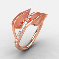 Natures Nouveau 14K Rose Gold White Sapphire Leaf and Vine Wedding Ring Engagement Ring NN113S-14KRGWS-1