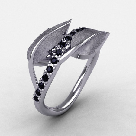 Natures Nouveau 14K White Gold Black Diamond Leaf and Vine Wedding Ring Engagement Ring NN113S-14KWGBD-1