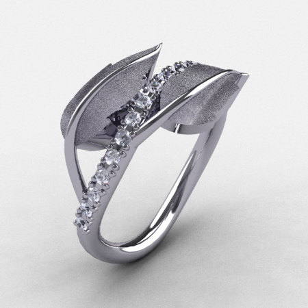 Natures Nouveau 14K White Gold White Sapphire Leaf and Vine Wedding Ring Engagement Ring NN113S-14KWGWS-1