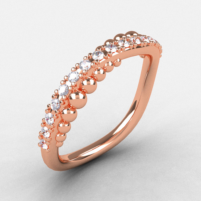 Natures nouveau 14k rose gold diamond pearl and vine for Pearl engagement ring with wedding band
