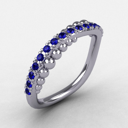 Natures Nouveau 10K White Gold Blue Sapphire Pearl and Vine Wedding Band Engagement Ring NN115-10KWGBS-1