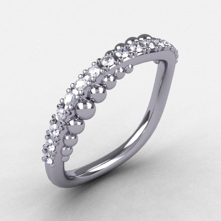 Natures Nouveau 14K White Gold Diamond Pearl and Vine Wedding Band Engagement Ring NN115-14KWGD-1
