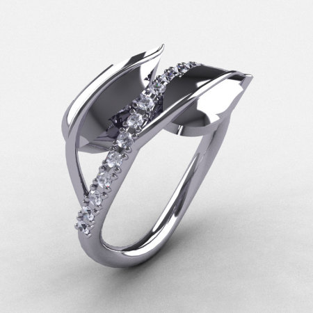 10K White Gold Cubic Zirconia Leaf and Vine Wedding Ring Engagement Ring NN113-10KWGCZ-1