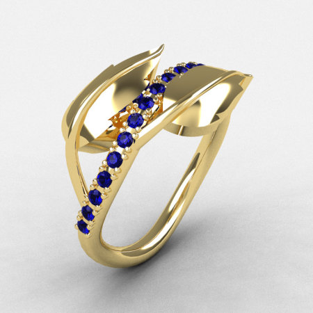 10K Yellow Gold Blue Sapphire Leaf and Vine Wedding Ring Engagement Ring NN113-10KYGBS-1