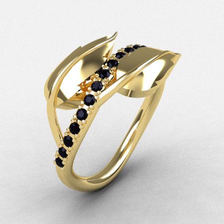 10K Yellow Gold Black Diamond Leaf and Vine Wedding Ring Engagement Ring NN113-10KYGBD-1