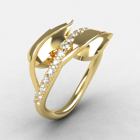 14K Yellow Gold Cubic Zirconia Leaf and Vine Wedding Ring Engagement Ring NN113-14KYGCZ-1