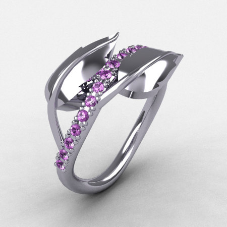 14K White Gold Lilac Amethyst Leaf and Vine Wedding Ring Engagement Ring NN113-14KWGBT-1