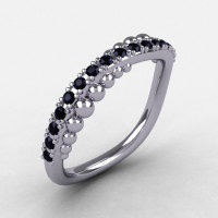 14K White Gold Black Diamond Pearl and Vine Wedding Band Engagement Ring NN115-14KWGBD-1