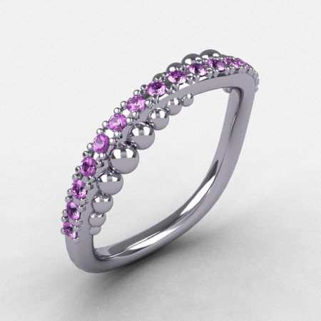 18K White Gold Lilac Amethyst Pearl and Vine Wedding Band Engagement Ring NN115-18KWGLA-1