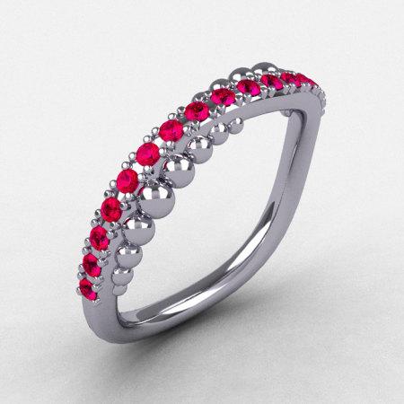 14K White Gold Rubies Pearl and Vine Wedding Band Engagement Ring NN115-14KWGR-1