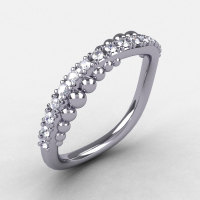 18K White Gold Cubic Zirconia Pearl and Vine Wedding Band Engagement Ring NN115-18KWGCZ-1