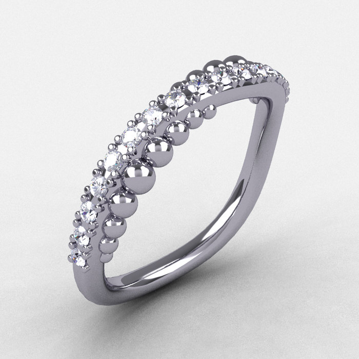 18k white gold cubic zirconia pearl and vine wedding band
