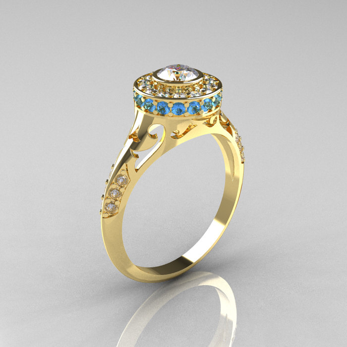 Modern Antique 18k Yellow Gold White Sapphire Aquamarine