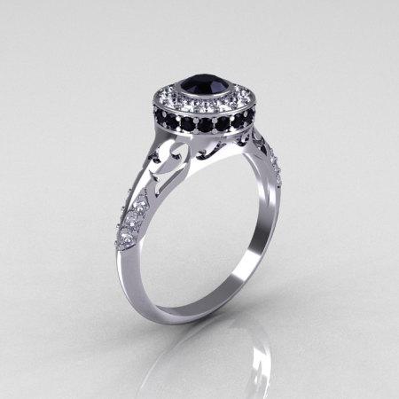 Modern Antique 14K White Gold Black and White Diamond Wedding Ring Engagement Ring R191-14KWGDBD-1