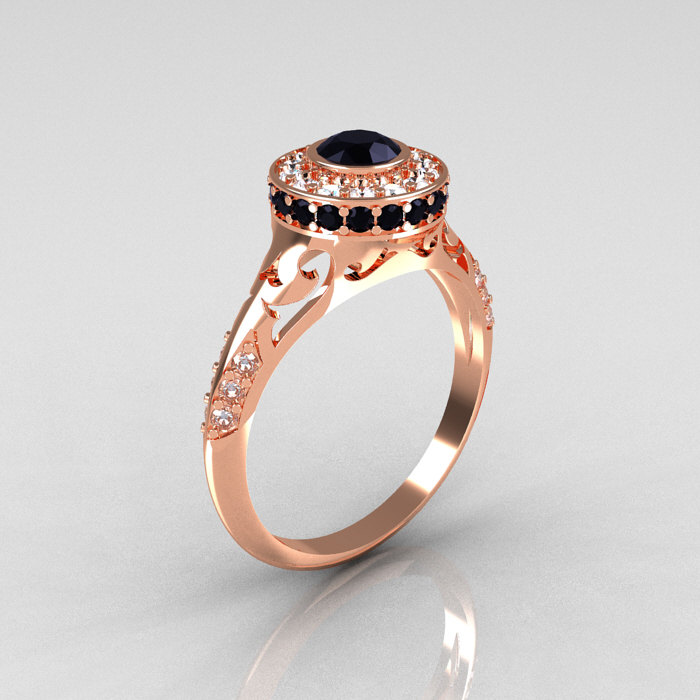 Modern Antique 18K Rose Gold Black and White Diamond Wedding Ring Engagement
