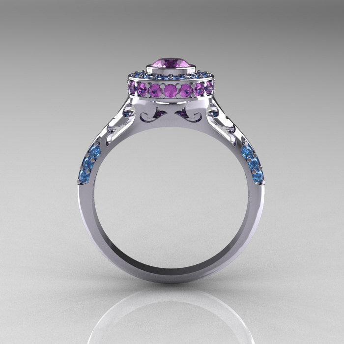 Modern Antique 950 Platinum Lilac Amethyst Aquamarine Exclusive