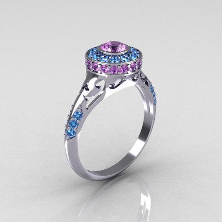 Modern Antique 950 Platinum Lilac Amethyst Aquamarine Exclusive Wedding Ring Engagement Ring R191-PLATAQLA-1