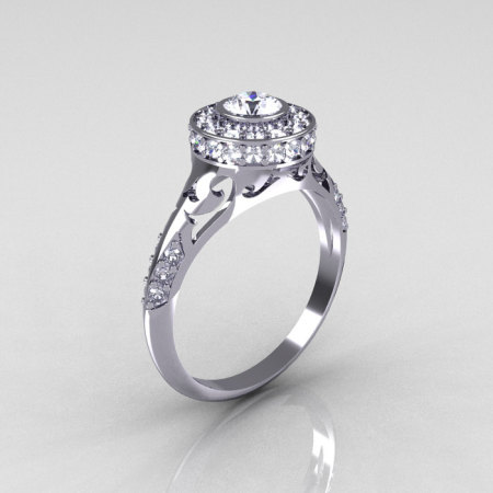 Modern Antique 18K White Gold White Sapphire Diamond Wedding Ring Engagement Ring R191-18KWGDWS-1