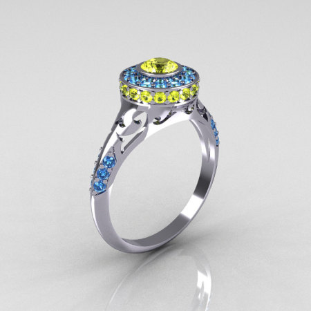 Modern Antique 14K White Gold Yellow and Blue Topaz Wedding Ring Engagement Ring R191-14KWGYTBT-1