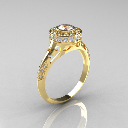Modern Antique 18K Yellow Gold White Sapphire Diamond Wedding Ring Engagement Ring R191-18KYGDWS-1