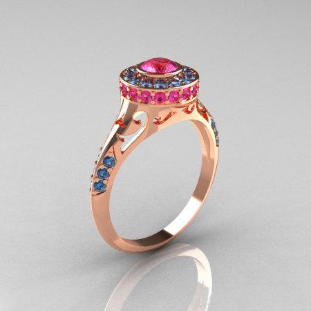 Modern Antique 14K Rose Gold Pink Sapphire Aquamarine Wedding Ring Engagement Ring R191-14KRGAQPS-1