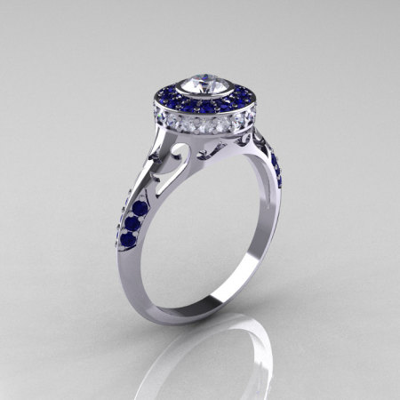 Modern Antique 10K White Gold Blue and White Sapphire Wedding Ring Engagement Ring R191-10KWGBSWS-1