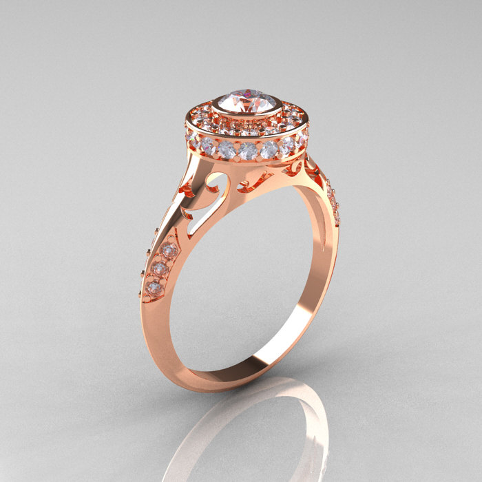 Modern Antique 14k Rose Gold Cubic Zirconia Diamond Wedding Ring Engagement Ring R191 14krgdcz Art Masters Jewelry