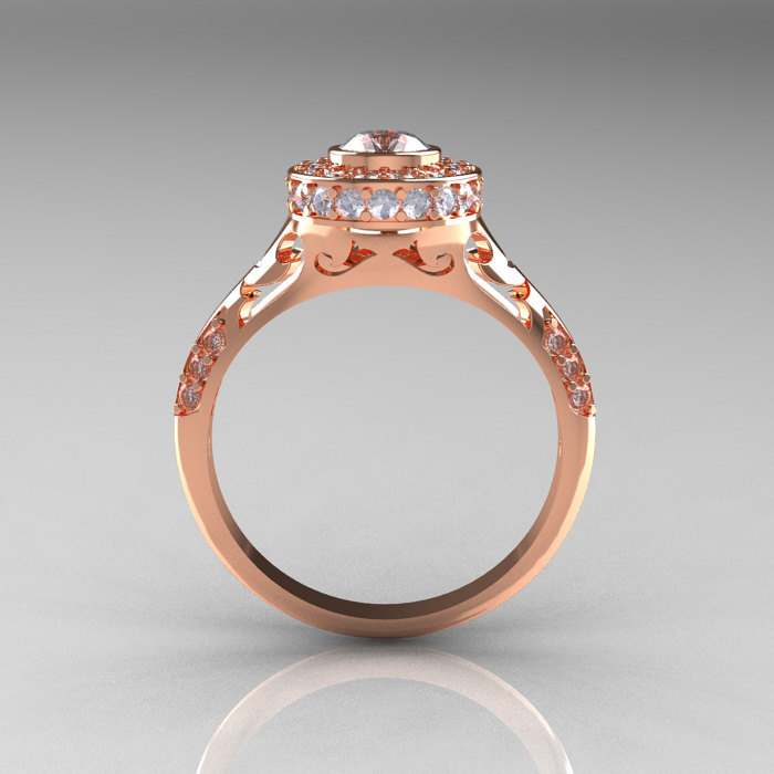 Modern Antique 14K Rose Gold Cubic Zirconia Diamond Wedding Ring
