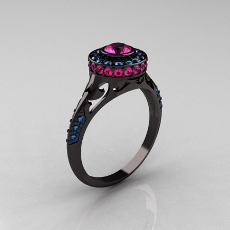 Modern Antique 14K Black Gold Pink Sapphire Aquamarine Wedding Ring Engagement Ring R191-14KBGAQPS-1