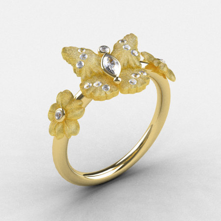 Natures Nouveau 14K Yellow Gold White Sapphire Diamond Butterfly Wedding Ring Engagement Ring NN116S-14KYGDWS-1