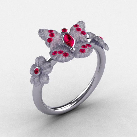 Natures Nouveau 14K White Gold Rubies Butterfly Wedding Ring Engagement Ring NN116S-14KWGRR-1