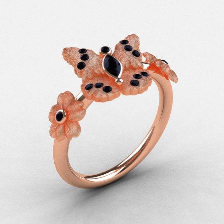 Natures Nouveau 18K Rose Gold Black Diamond Butterfly Wedding Ring Engagement Ring NN116S-18KRGBDD-1