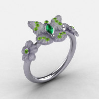 Natures Nouveau Platinum Emerald and Peridot Butterfly Wedding Ring Engagement Ring NN116S-PLATPEM-1