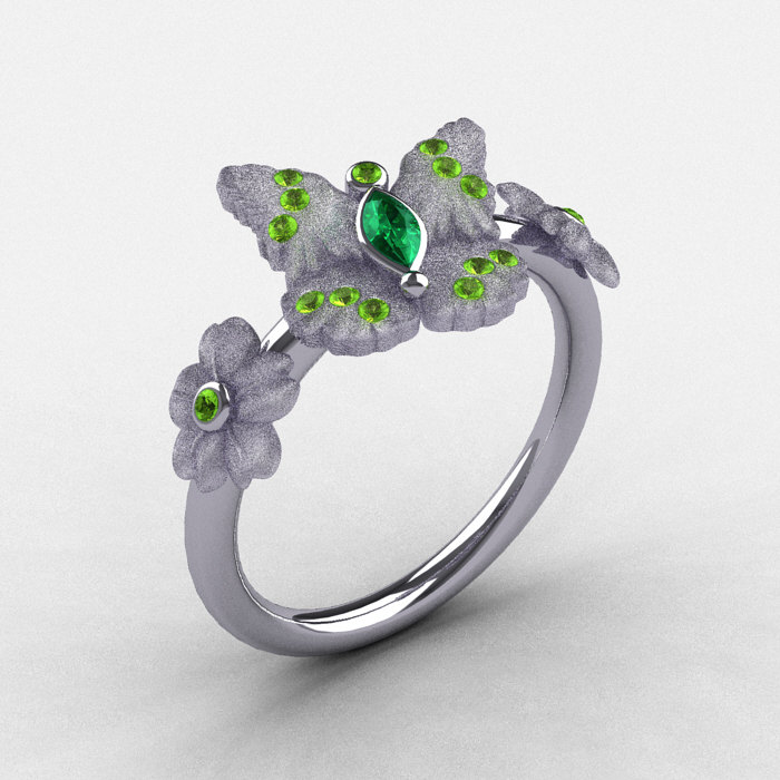 natures nouveau platinum emerald and peridot butterfly wedding ring engagement ring nn116s platpem 1 - Butterfly Wedding Rings