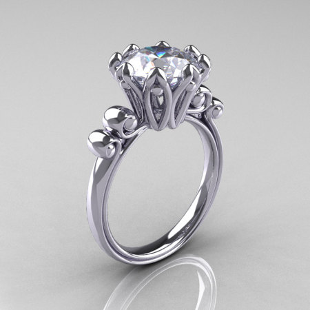 Modern Antique 14K White Gold 3.0 Carat White Sapphire Solitaire Engagement Ring AR135-14KWGWS-1