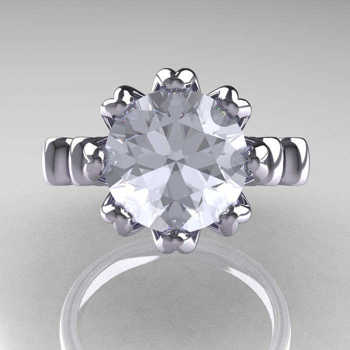 modern antique 14k white gold 3 0 carat white sapphire