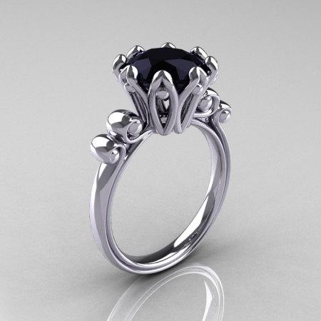 Modern Antique 10K White Gold 3.0 Carat Black Diamond Solitaire Engagement Ring AR135-10KWGBD-1