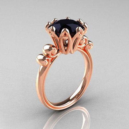 Modern Antique 18K Rose Gold 3.0 Carat Black Diamond Solitaire Engagement Ring AR135-18KRGBD-1
