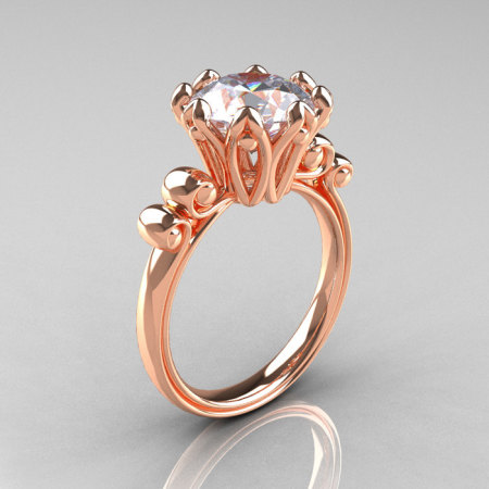 Modern Antique 14K Rose Gold 3.0 Carat White Sapphire Solitaire Engagement Ring AR135-14KRGWS-1