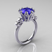 Modern Antique 10K White Gold 3.0 Carat Tanzanite Solitaire Engagement Ring AR135-10KWGTZ-1
