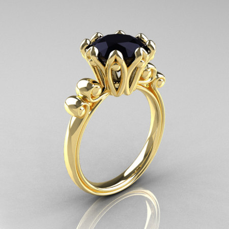 Modern Antique 14K Yellow Gold 3.0 Carat Black Diamond Solitaire Engagement Ring AR135-14KYGBD-1