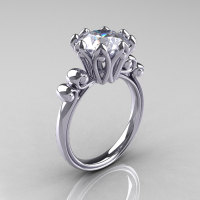 Modern Antique 18K White Gold 3.0 Carat Moissanite Solitaire Engagement Ring AR135-18KWGMO-1
