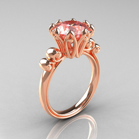 Modern Antique 18K Rose Gold 3.0 Carat Morganite Solitaire Engagement Ring AR135-18KRGMR-1