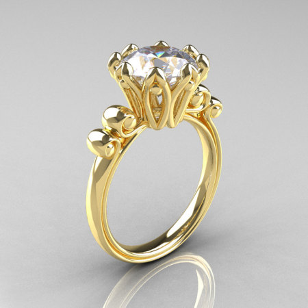 Modern Antique 14K Yellow Gold 3.0 Carat White Sapphire Solitaire Engagement Ring AR135-14KYGWS-1