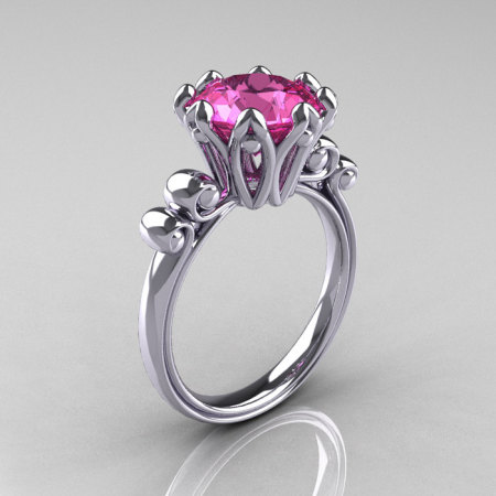Modern Antique 10K White Gold 3.0 Carat Pink Sapphire Solitaire Engagement Ring AR135-10KWGPS-1