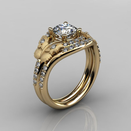 14KT Yellow Gold Diamond Leaf and Vine White Sapphire Wedding RingEngagement Ring NN117SS-14KYGDWS Nature Inspired Jewelry-1
