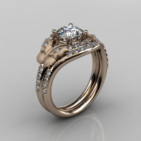 14KT Rose Gold Diamond Leaf and Vine White Sapphire Wedding RingEngagement Ring NN117SS-14KRGDWS Nature Inspired Jewelry-1