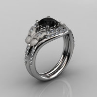 14KT White Gold Diamond Leaf and Vine Black Diamond Wedding RingEngagement Ring NN117SS-14KWGDBD Nature Inspired Jewelry-1
